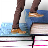 "Legs on a ""book staircase"""